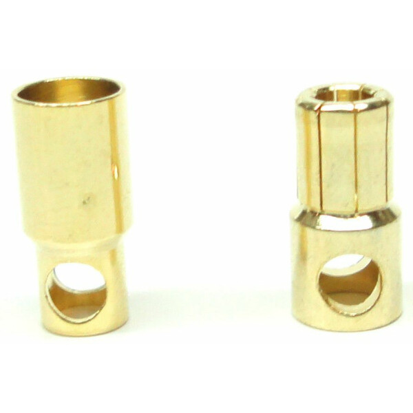 *5 Paar Goldkontaktstecker 6mm
